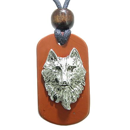 Wise Wolf Head Red Jasper Believe Powers Magic Tag Amulet Pendant Necklace