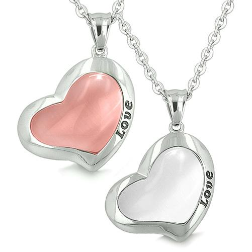 Lucky Hearts Love Eternity Love Couple Yin Yang Charms Amulet White Pink Cats Eye Pendant Necklaces
