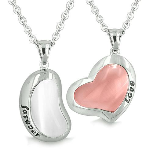 Lucky Bean Heart Eternity Love Forever Love Couple Charms Amulets White Pink Cats Eye Necklaces