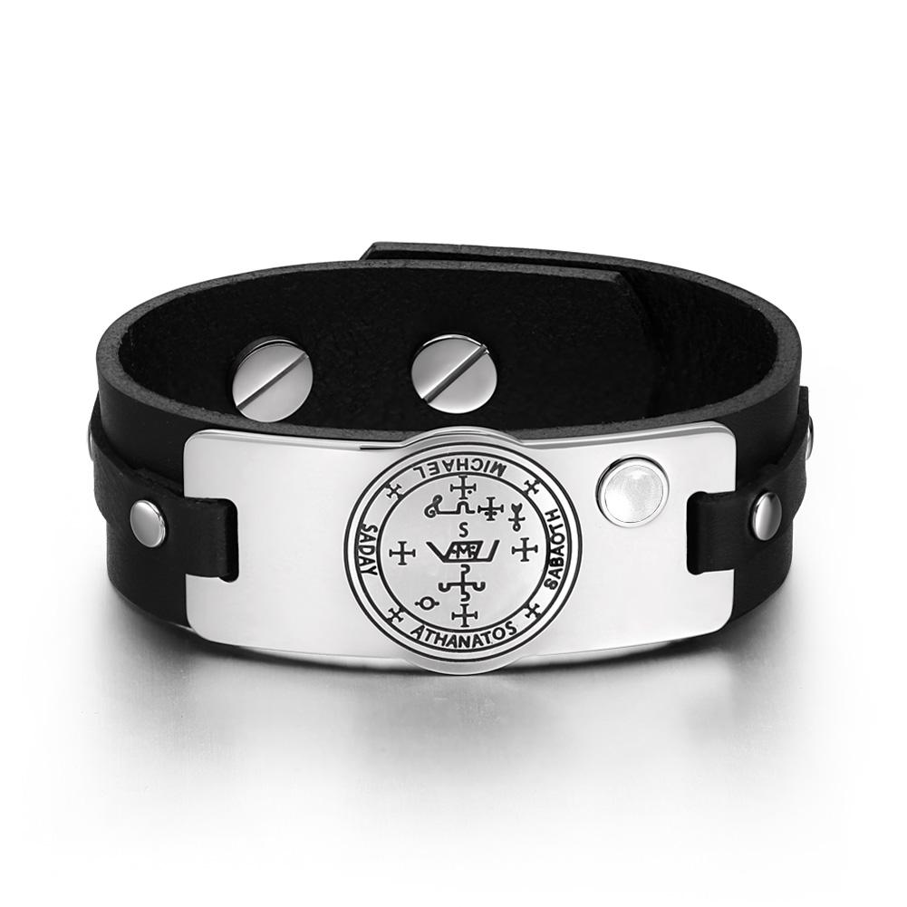 Archangel Michael Sigil Magic Power Amulet White Simulated Cats Eye Black Leather Bracelet