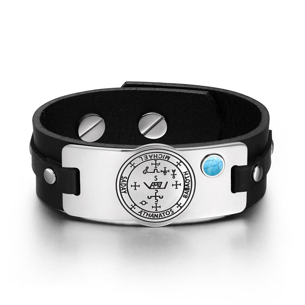 Archangel Michael Sigil Magic Powers Amulet Simulated Turquoise Adjustable Black Leather Bracelet