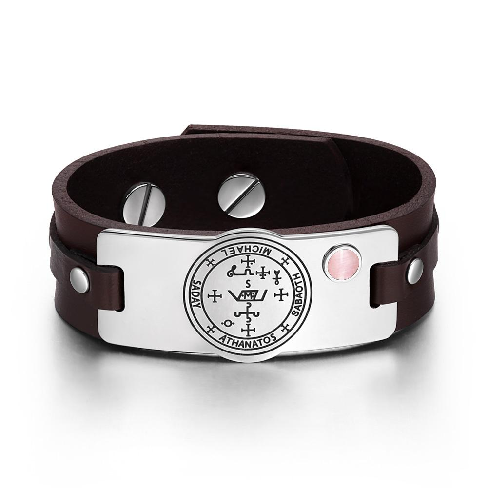 Archangel Michael Sigil Magic Powers Amulet Pink Simulated Cats Eye Brown Leather Bracelet