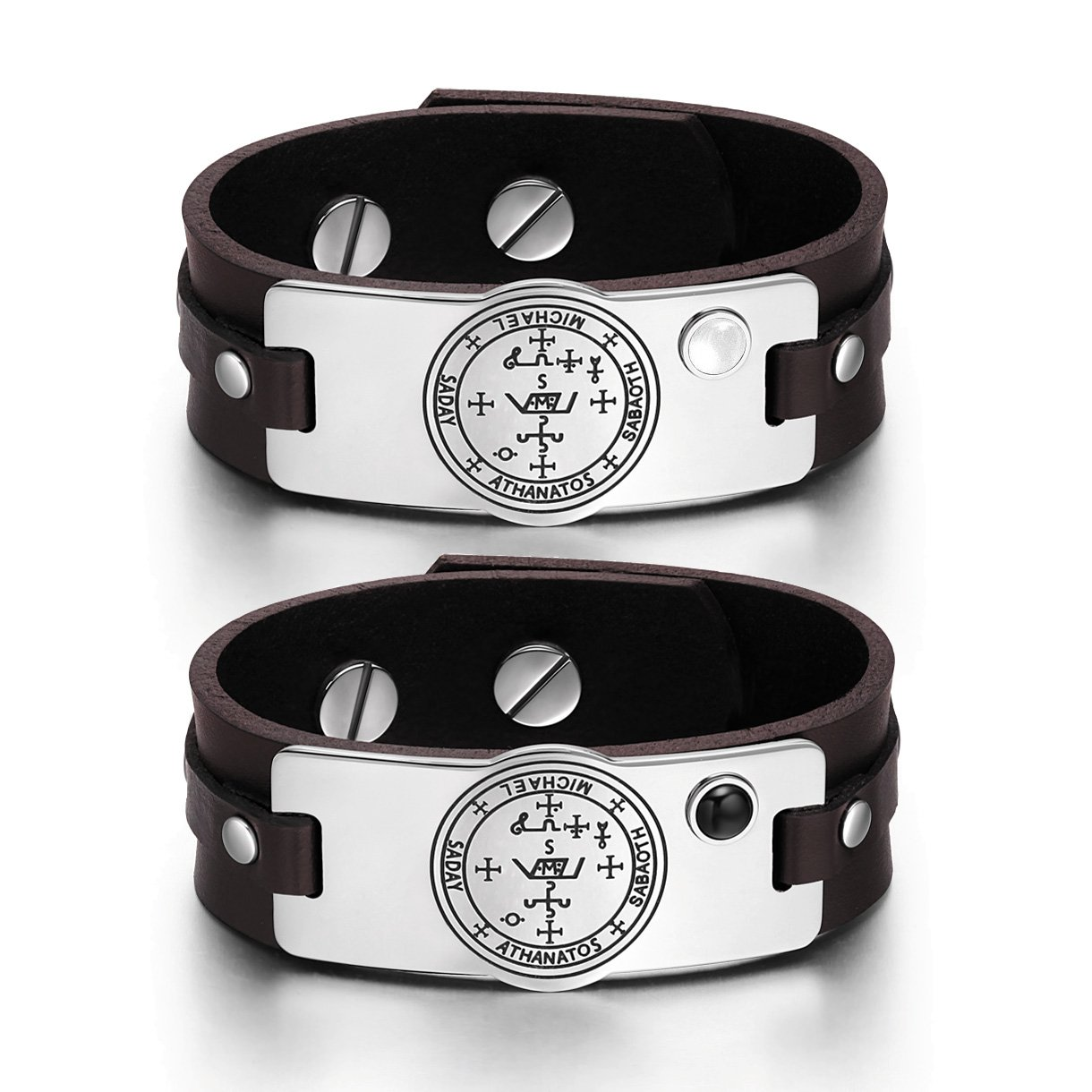 Archangel Michael Sigil Love Couples White Simulated Cat Eye Simulated Onyx Brown Leather Bracelets