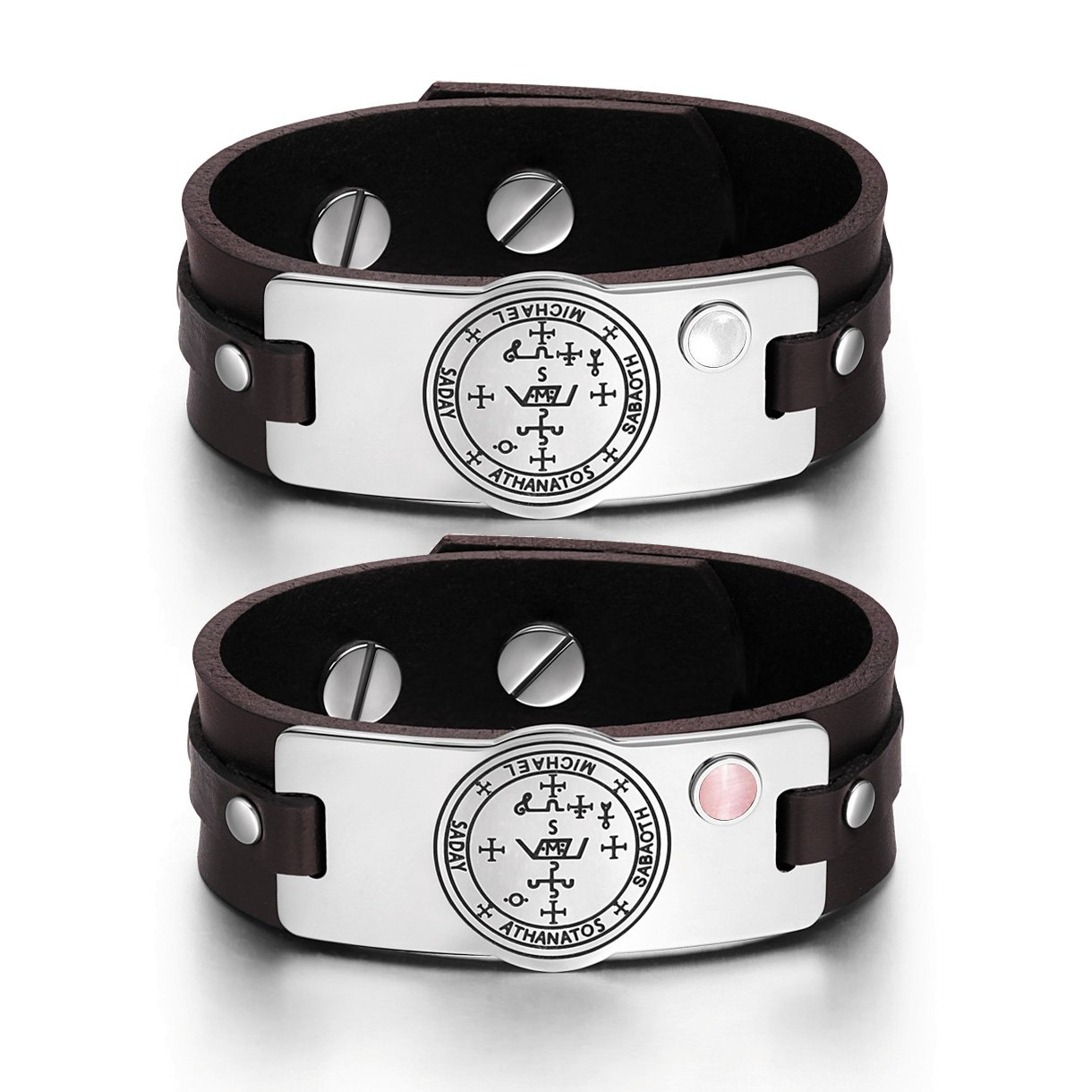 Archangel Michael Sigil Love Couples Pink White Simulated Cats Eye Amulet Brown Leather Bracelets