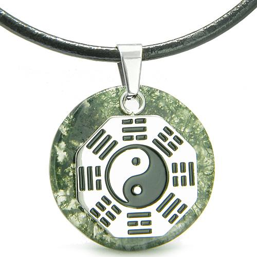Yin Yang BA GUA Eight Trigrams Amulet Green Moss Agate Circle Positive Power Pendant Necklace