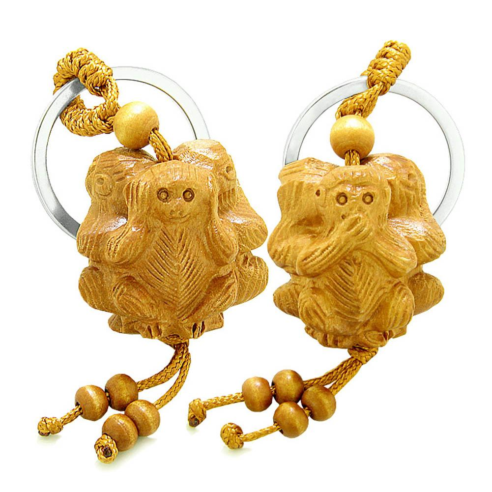 Amulet No Hear See Talk Triple Lucky Wise Monkeys Good Luck Protection Feng Shui Keychain Set Blessings