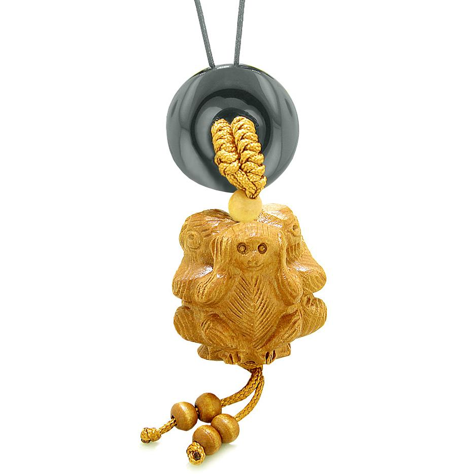 Wise Monkeys No Hear See Talk Car Charm or Home Decor Black Agate Lucky Coin Donut Protection Amulet
