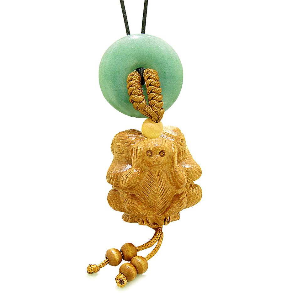 Wise Monkeys No Hear See Talk Car Charm or Home Decor Green Quartz Lucky Coin Donut Protection Amulet