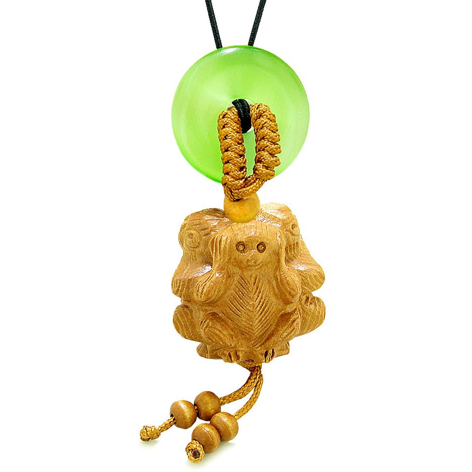 Wise Monkeys No Hear See Talk Car Charm or Home Decor Green Simulated Cats Eye Lucky Coin Donut Amulet