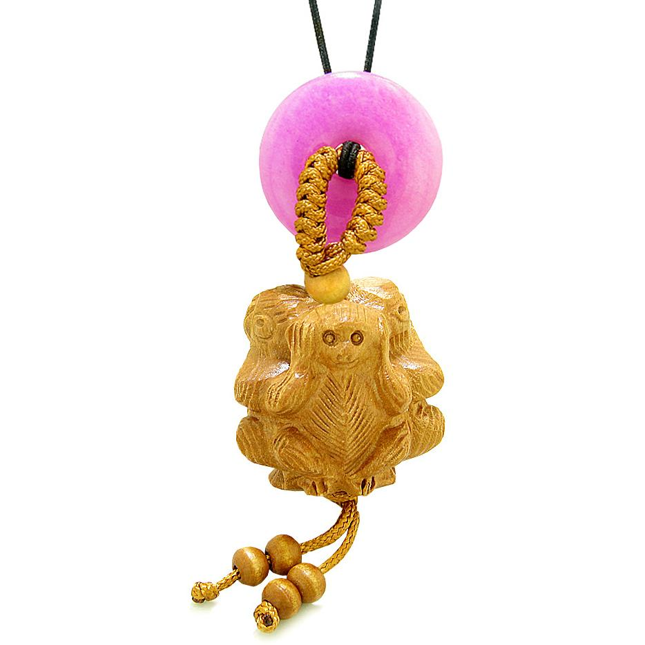 Wise Monkeys No Hear See Talk Car Charm or Home Decor Hot Pink Quartz Lucky Coin Donut Protection Amulet