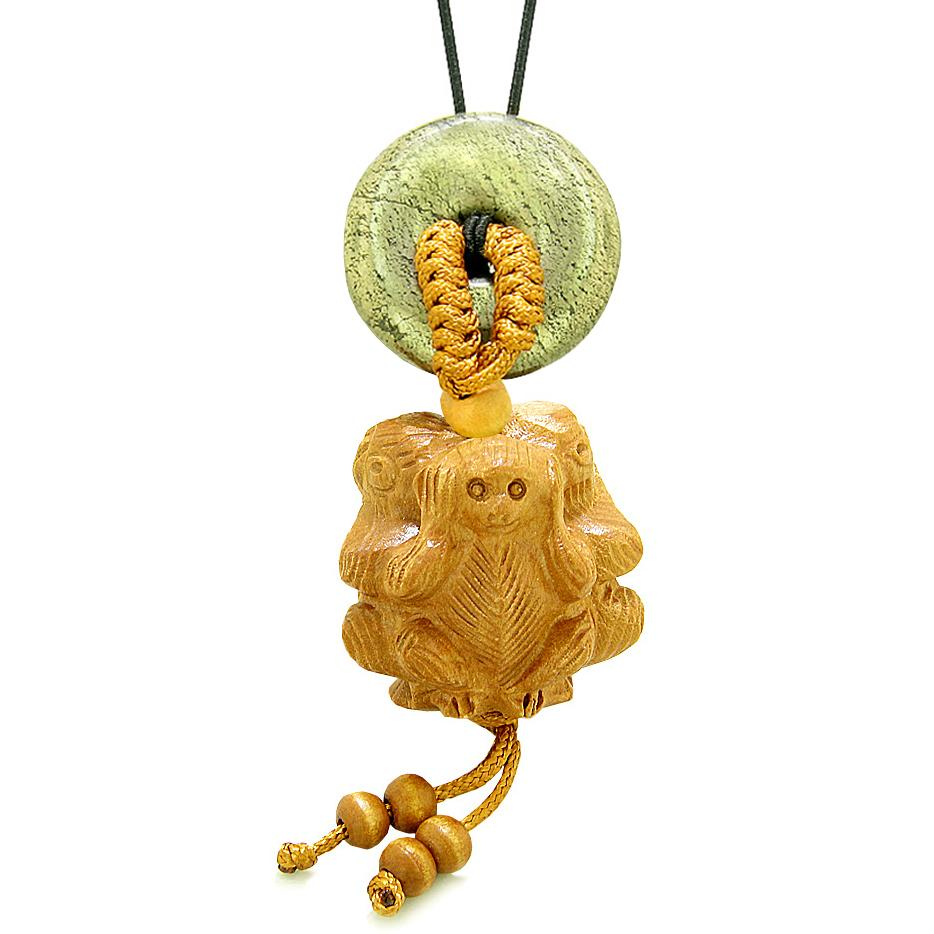 Wise Monkeys No Hear See Talk Car Charm or Home Decor Golden Pyrite Iron Lucky Coin Donut Protect Amulet
