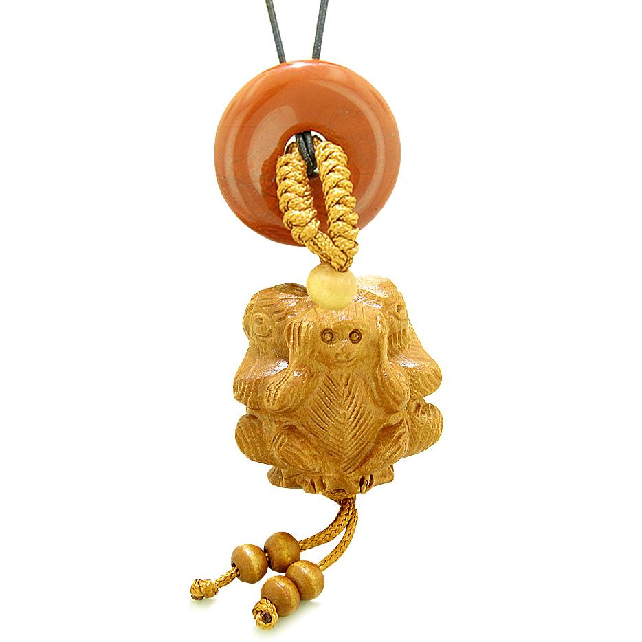 Wise Monkeys No Hear See Talk Car Charm or Home Decor Red Jasper Lucky Coin Donut Protection Amulet
