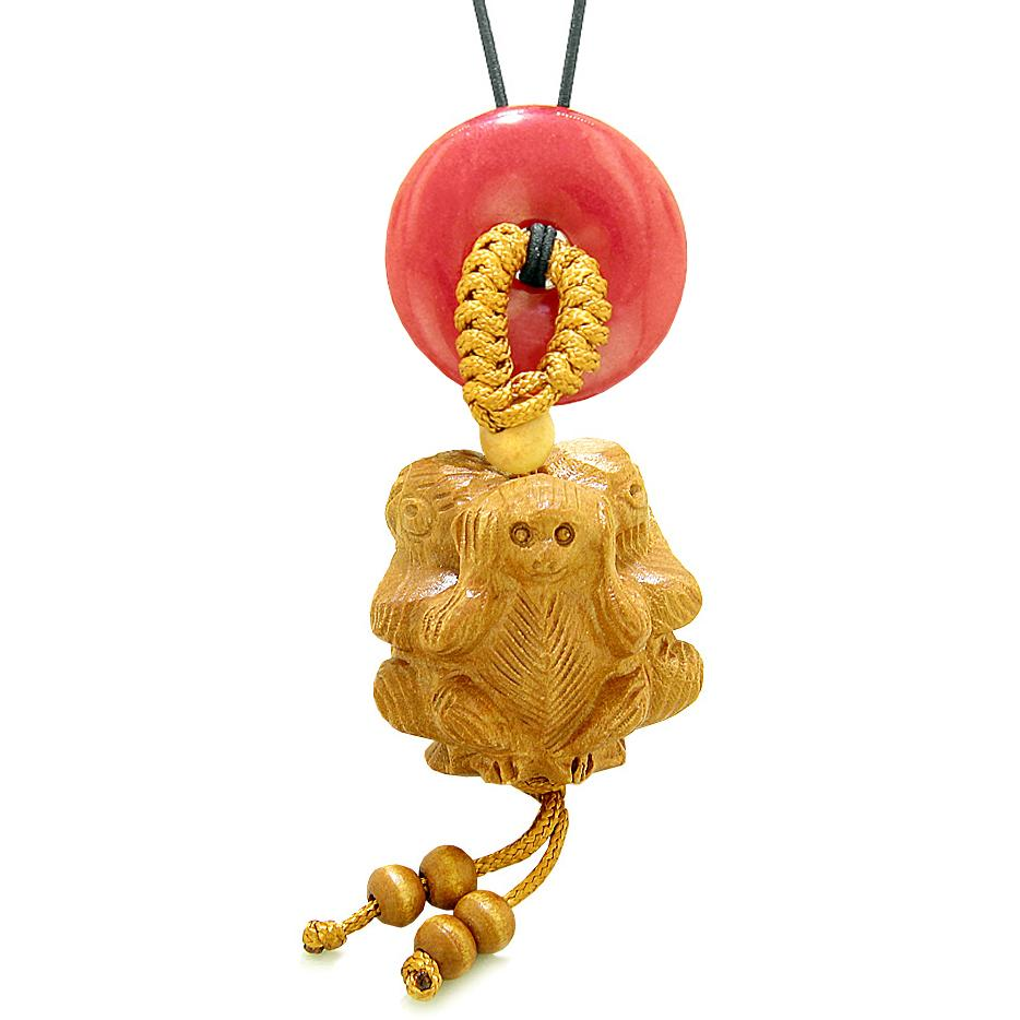 Wise Monkeys No Hear See Talk Car Charm or Home Decor Red Quartz Lucky Coin Donut Protection Amulet