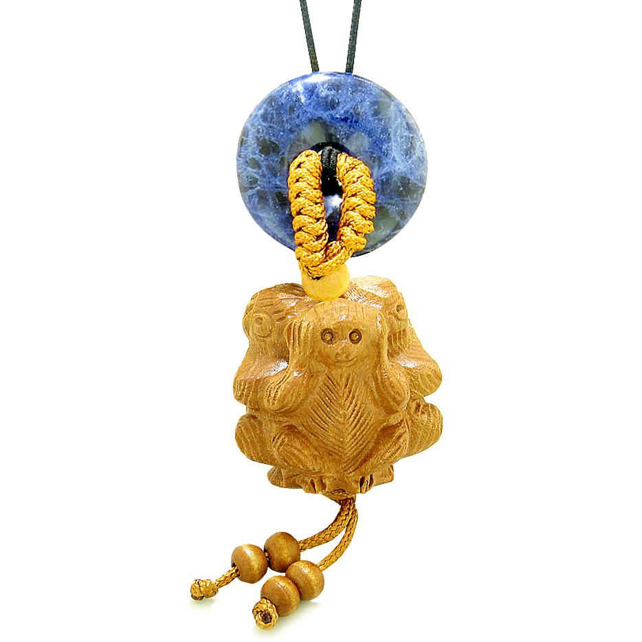 Wise Monkeys No Hear See Talk Car Charm or Home Decor Sodalite Lucky Coin Donut Protection Amulet