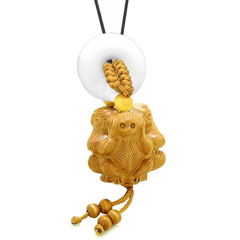 Wise Monkeys No Hear See Talk Car Charm or Home Decor White Quartz Lucky Coin Donut Protection Amulet