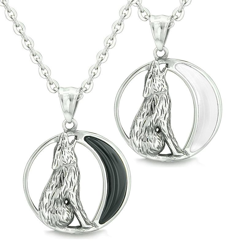Amulets Love Couple or Best Friends Howling Wolf Wild Moon Simulated Onyx White Cats Eye Necklaces