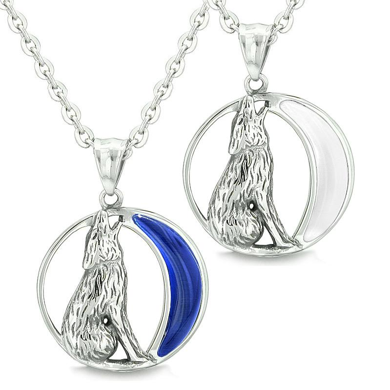 Amulets Love Couples Best Friends Howling Wolf Wild Moon Midnight Blue White Cats Eye Necklaces