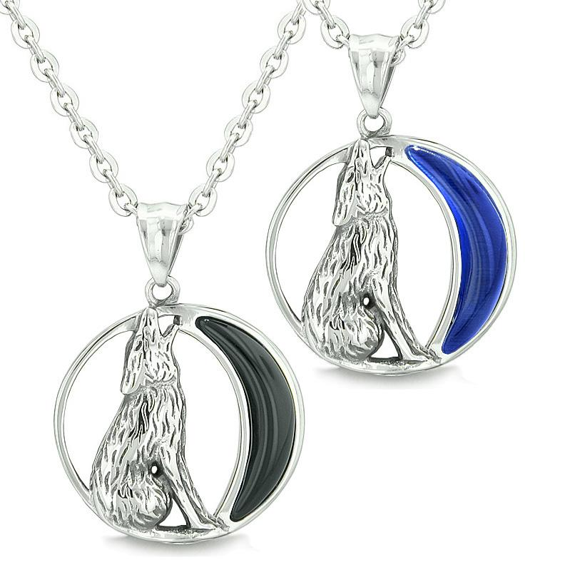 Amulets Love Couples Best Friends Set Howling Wolf Wild Moon Onyx Midnight Blue Cats Eye Necklaces