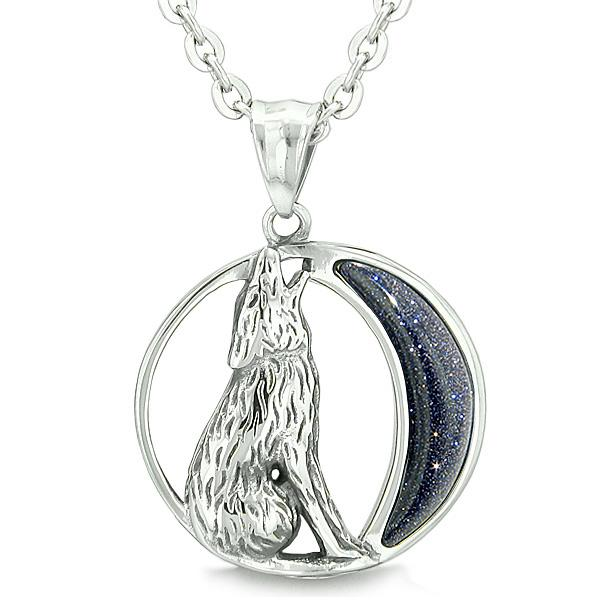 "Amulet Howling Wolf and Wild Moon Spiritual Powers Blue Goldstone Pendant on 22"" Necklace"