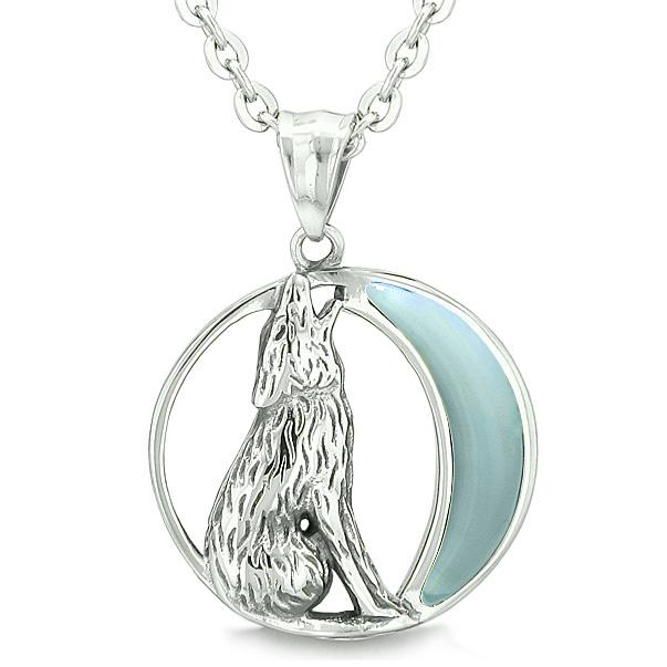 """Amulet Howling Wolf and Wild Moon Spiritual Powers Opalite Stone Pendant on 18"""" Necklace"""