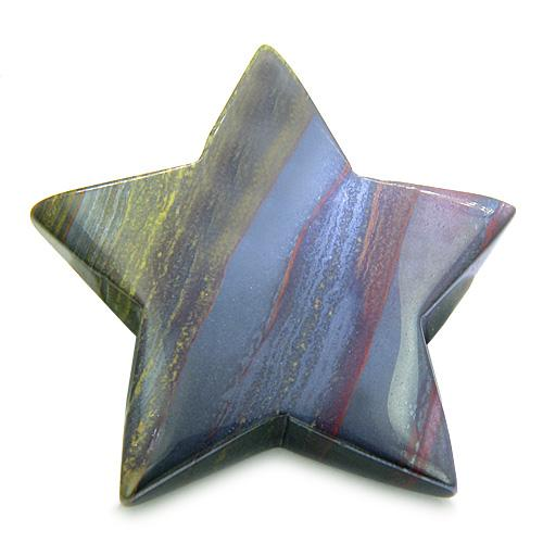 Amulet Magic Five Pointed Star Carving Tiger Eye Iron Protection Healing Individual Keepsake Totem