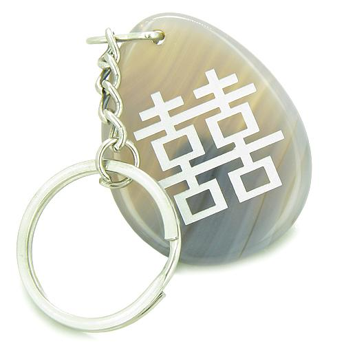 Lucky Double Happiness Magic Good Luck Amulet Natural Agate Wish Totem Gem Stone Keychain