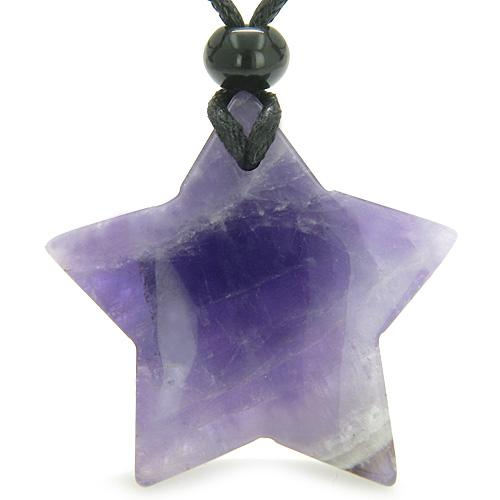 Amulet Magic Five Pointed Super Star Crystal Amethyst Safety Healing Carved Pendant Necklace