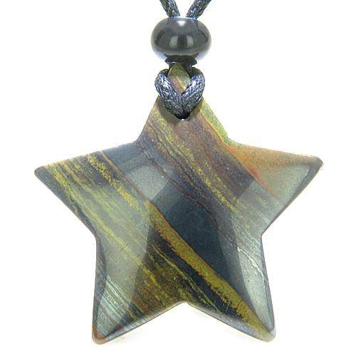Amulet Magic Five Pointed Super Star Tiger Eye Iron Safety Healing Carved Pendant Necklace