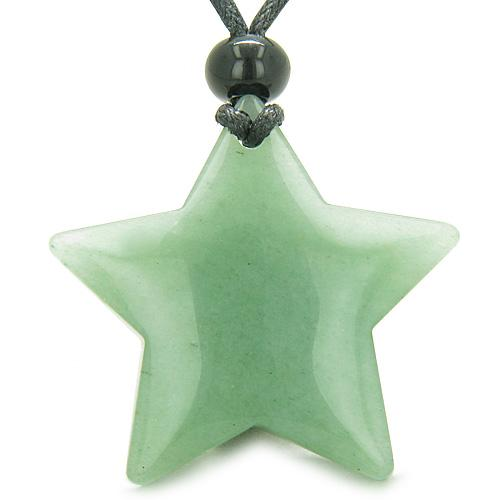 Amulet Magic Five Pointed Super Star Green Aventurine Positive Healing Carved Pendant Necklace
