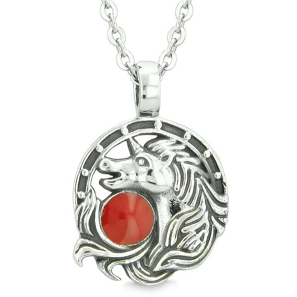 Unicorn Amulet Lucky Charm Horse Shoe Magic Cherry Red Circle Pendant 22 Inch Necklace