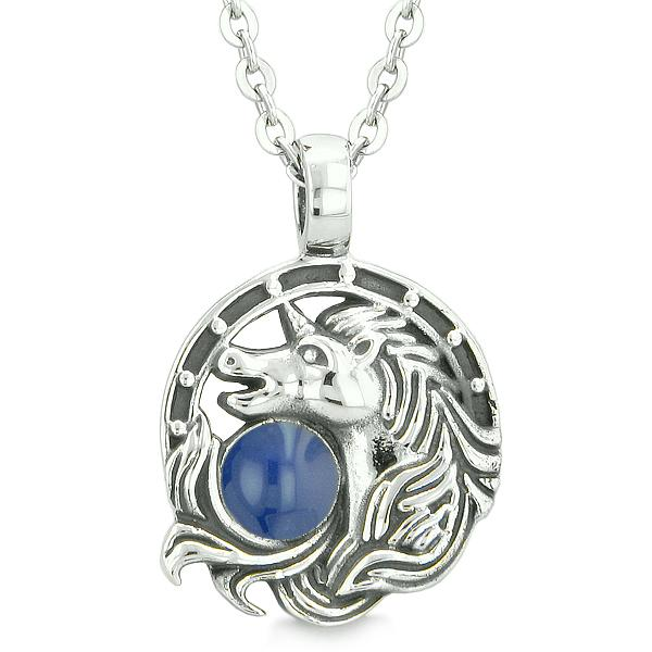 Unicorn Amulet Lucky Charm Horse Shoe Magic Royal Blue Circle Pendant 18 Inch Necklace