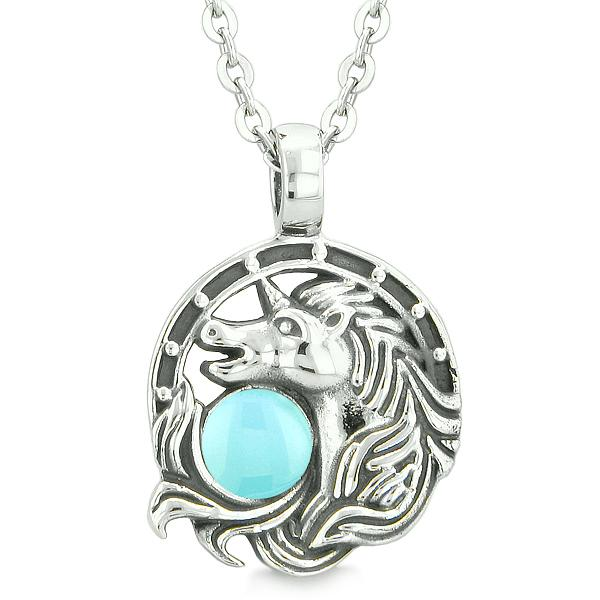 Unicorn Amulet Lucky Charm Horse Shoe Magic Baby Blue Circle Pendant 22 Inch Necklace