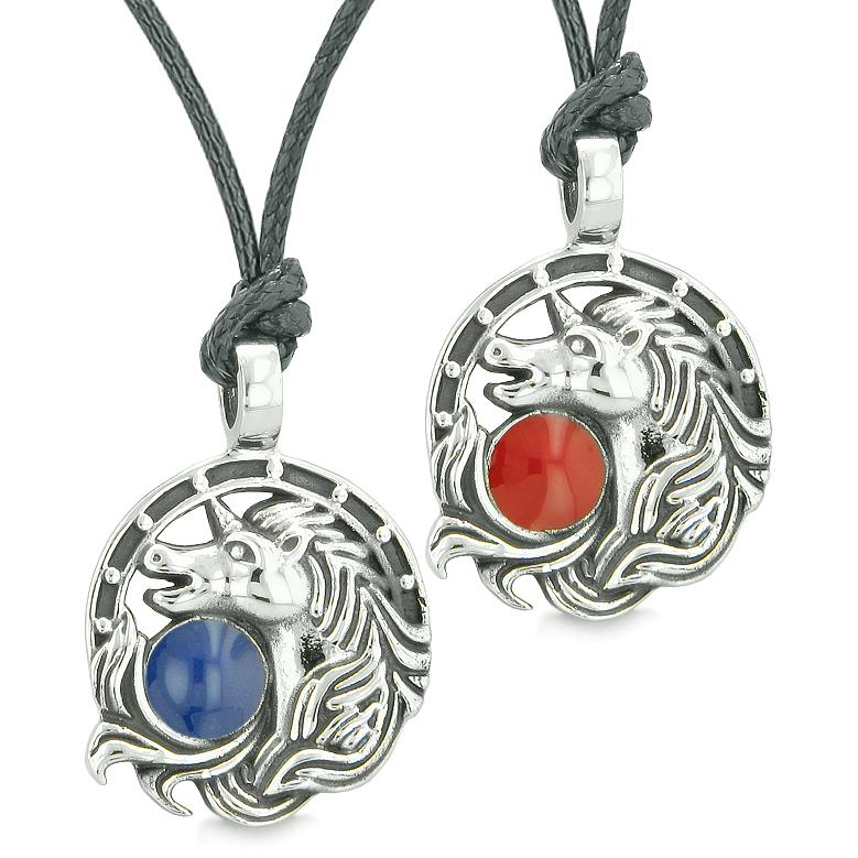 Unicorn Best Friends or Love Couples Amulets Lucky Horse Shoe Red Royal Blue Pendant Necklaces