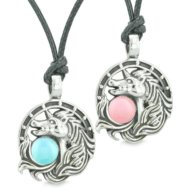 Unicorn Best Friends or Love Couples Amulets Lucky Horse Shoe Baby Pink Blue Pendant Necklaces