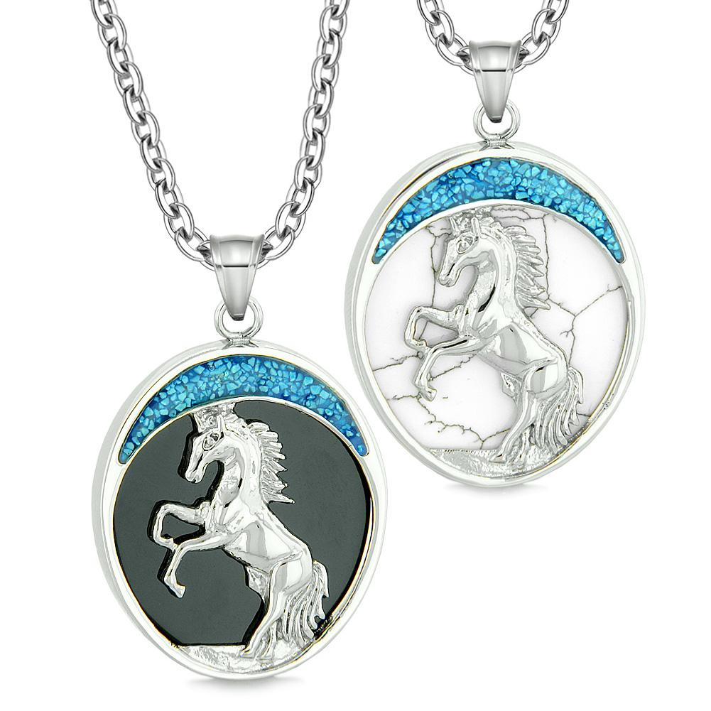 Courage Horse Wild Mustang Couple Best Friends Simulated Onyx Simulated White Turquoise Necklaces