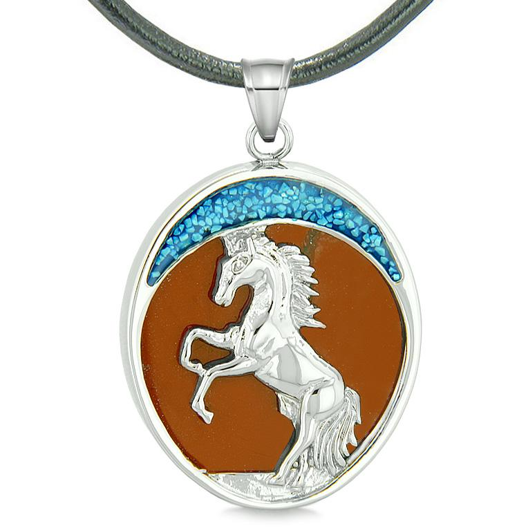 Courage Horse Wild Moon Mustang Magic Protection Powers Amulet Red Jasper Pendant Leather Necklace