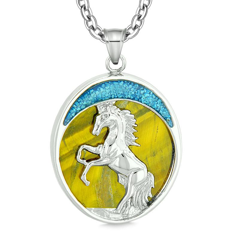 Courage Horse Wild Moon Mustang Magic Protection Powers Amulet Tiger Eye Pendant 22 Inch Necklace