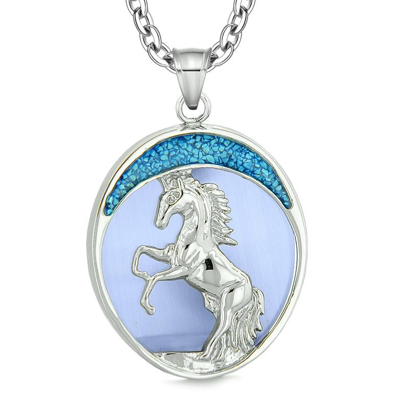 Courage Horse Wild Moon Mustang Magic Protection Powers Amulet Simulated Blue Cats Eye Necklace