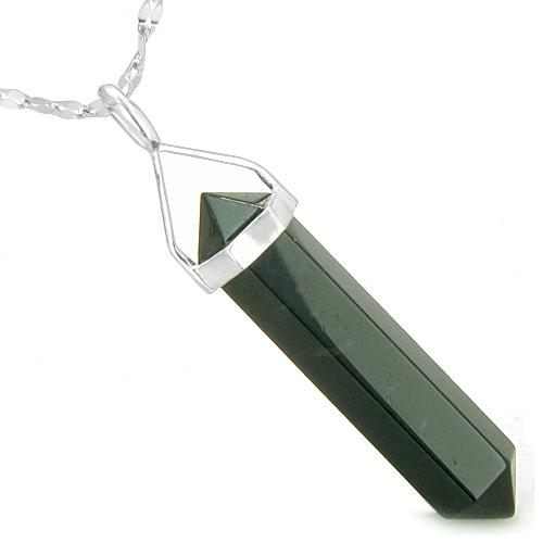 Amulet 925 Sterling Silver Black Onyx Crystal Point Spiritual Protection Powers Pendant Necklace