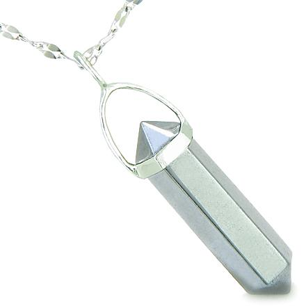 Amulet 925 Sterling Silver Hematite Crystal Point Natural Energy Evil Eye Protection Powers Pendant on 18