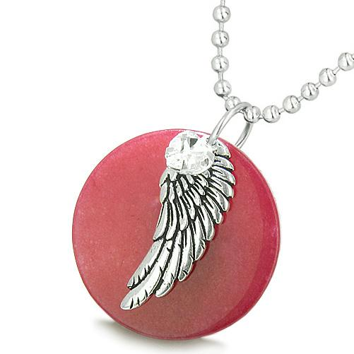Amulet Angel Wing Red Cherry Jade Medallion White Swarovski Elements Heart Feather Pendant Necklace