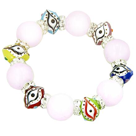 Swarovski Evil Eye & Love Talisman Rose Quartz Bracelet