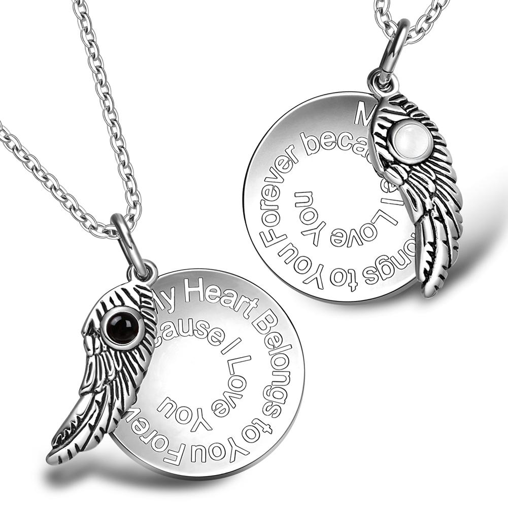 My Heart Belongs to You Forever Inspirational Wing Couples Simulated Onyx White Cats Eye Necklaces