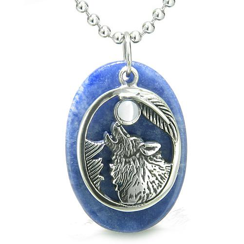 Amulet Courage Howling Wolf Moon Charm in Sodalite White Cats Eye Gemstones Pendant Necklace