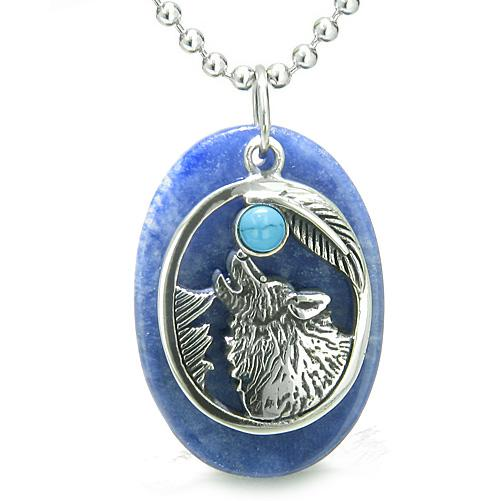 Amulet Courage Howling Wolf Moon Charm in Sodalite Turquoise Eye Gemstones Pendant Necklace