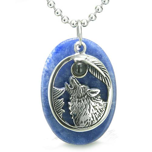 Amulet Courage Howling Wolf Moon Charm in Sodalite Black Onyx Gemstones Pendant Necklace