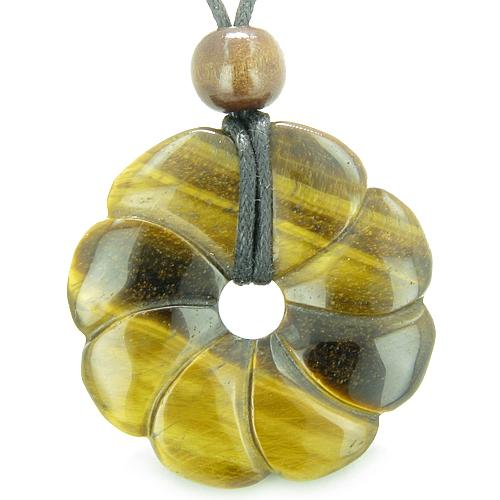 Large Flower Lucky Charm Donut Amulet Magic Tiger Eye Crystal Healing Pendant Necklace