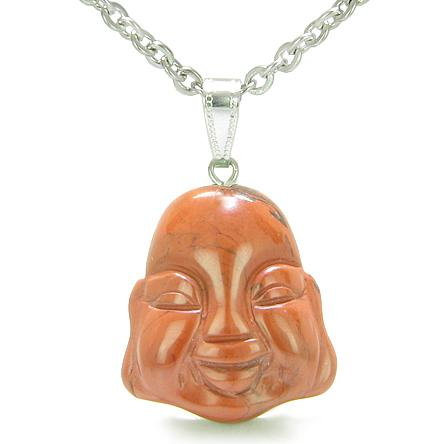 Amulet Lycky Charm Happy Buddha Face Red Jasper Believe Powers Gemstone Pendant Necklace