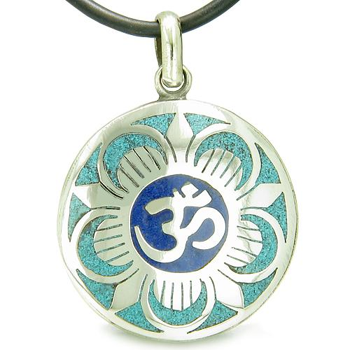 Amulet Ancient OM and Magic Lotus Tibetan Symbol Turquoise Lapis Lazuli Medallion Pendant Necklace