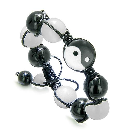 Yin Yang Balance Powers Amulet Black Onyx Jade Gemstones Positive Lucky Charm Energies Bracelet